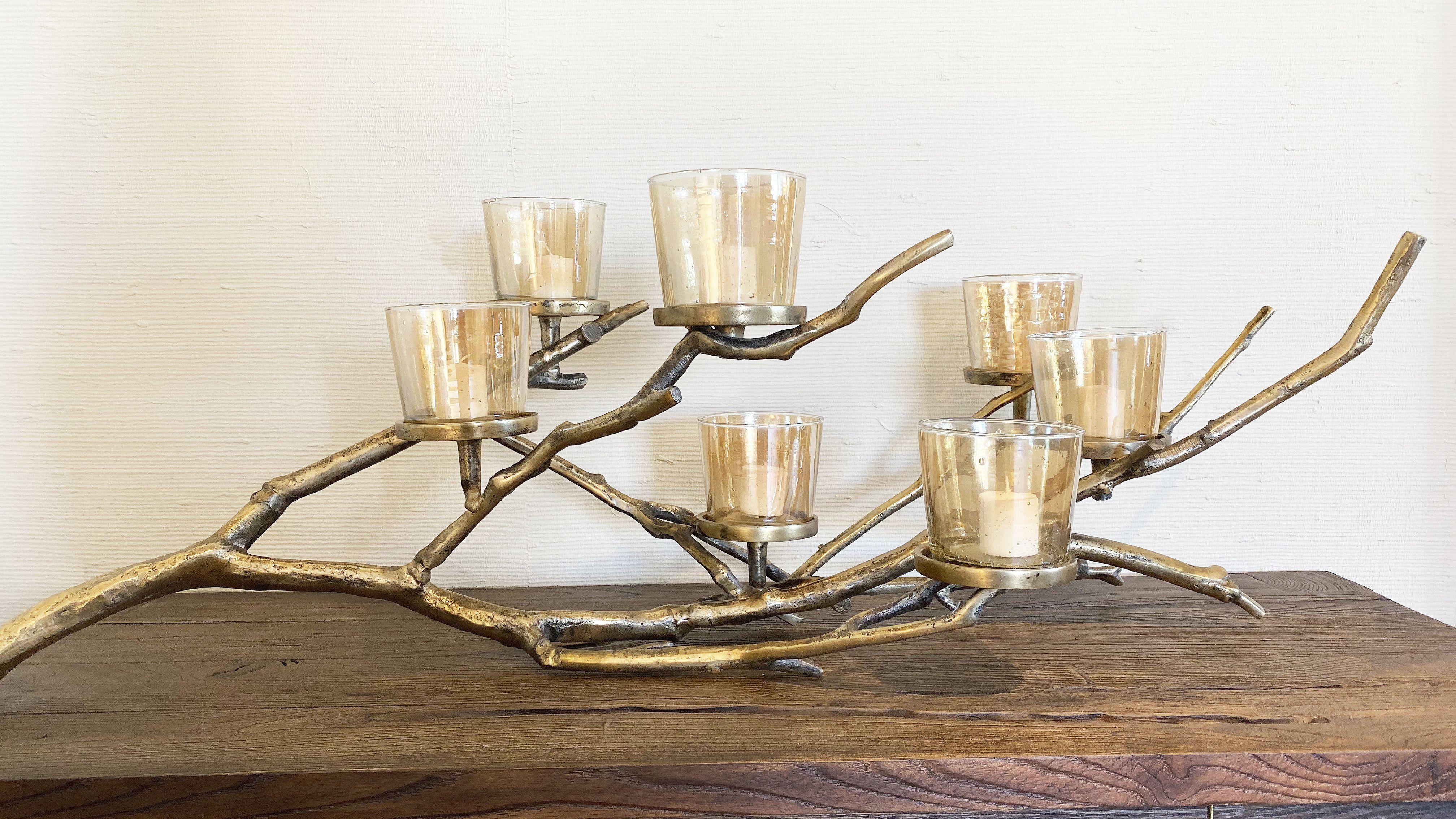 gold metallic antler candle holder