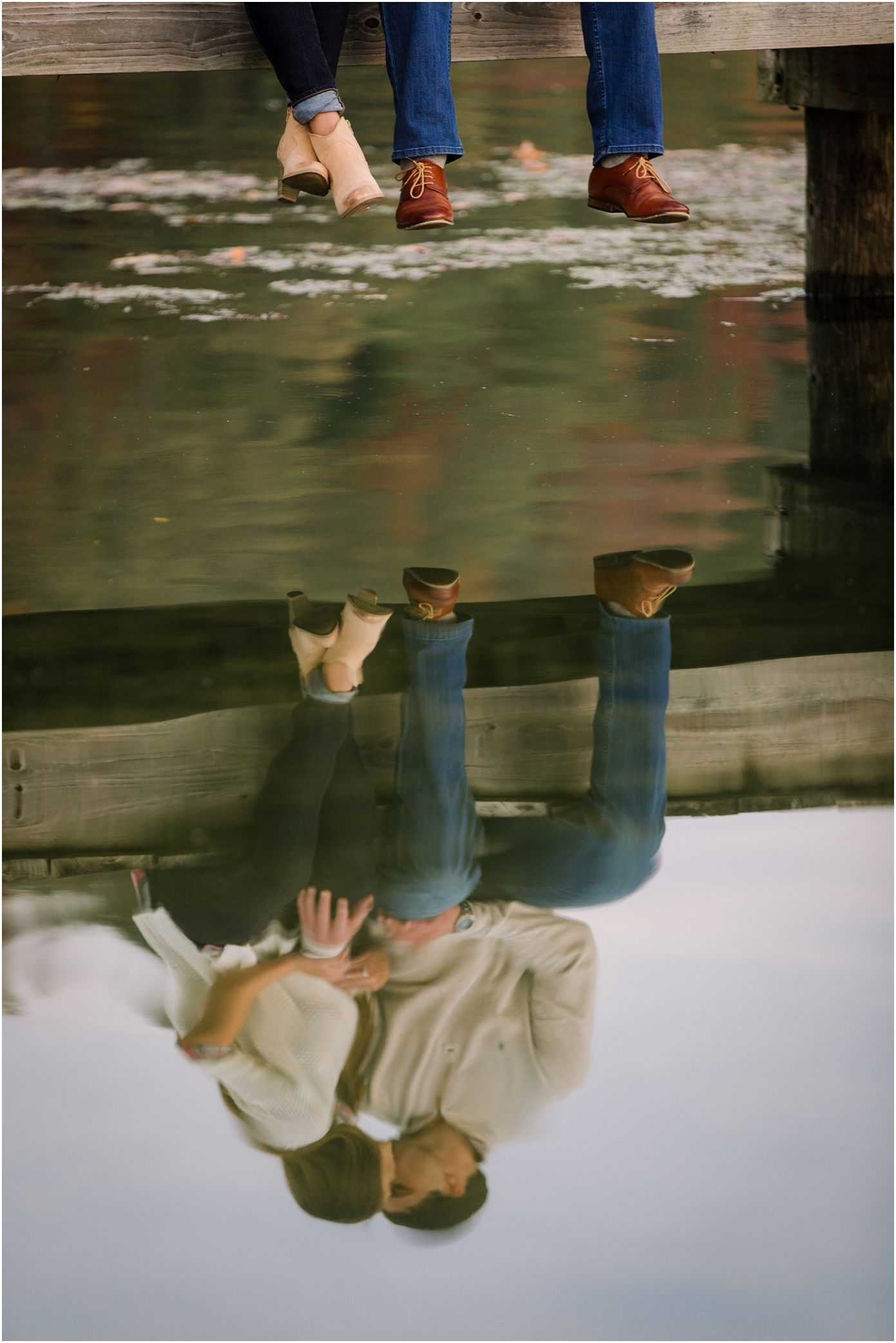 Creative Engagement Photo Ideas Sitting On A Dock With A Reflection On The Water In K In 2020 Creative Engagement Photo Rainy Engagement Photos Water Engagement Photos