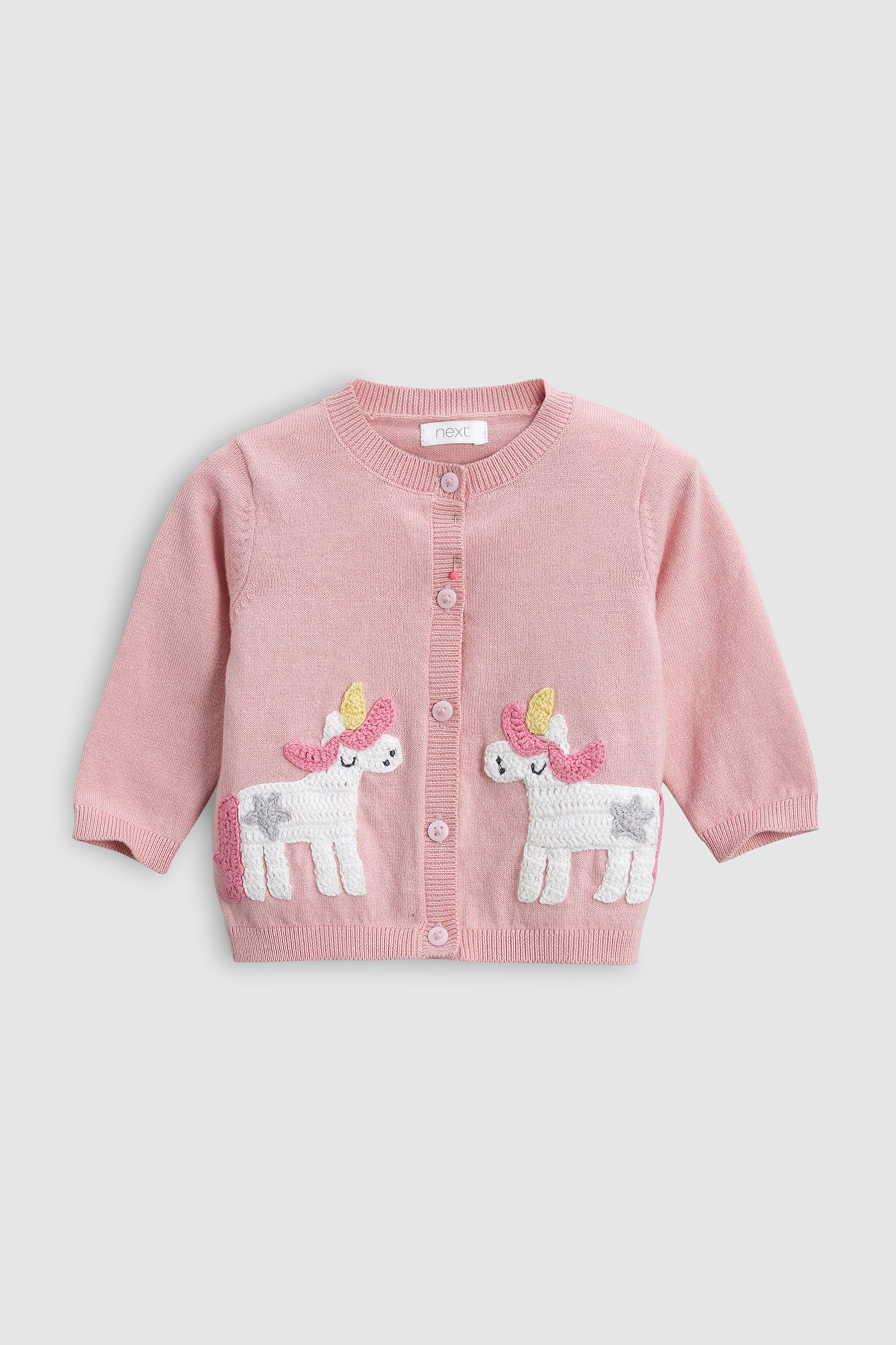 0db5950c93e3 Girls Next Pink Unicorn Cardigan (0mths-2yrs) - Pink