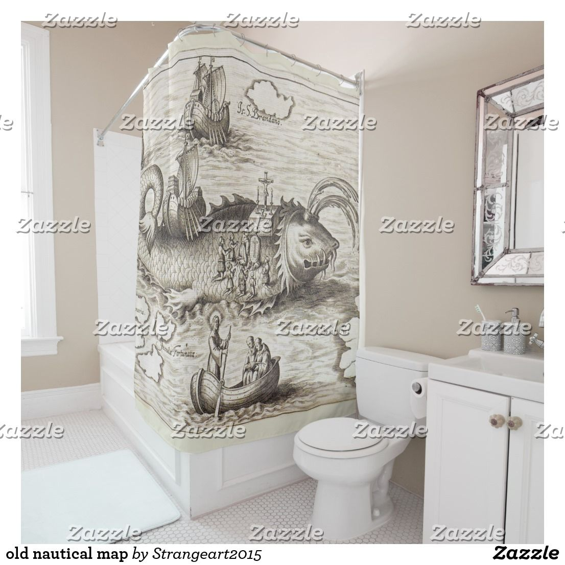 Old Nautical Map Shower Curtain