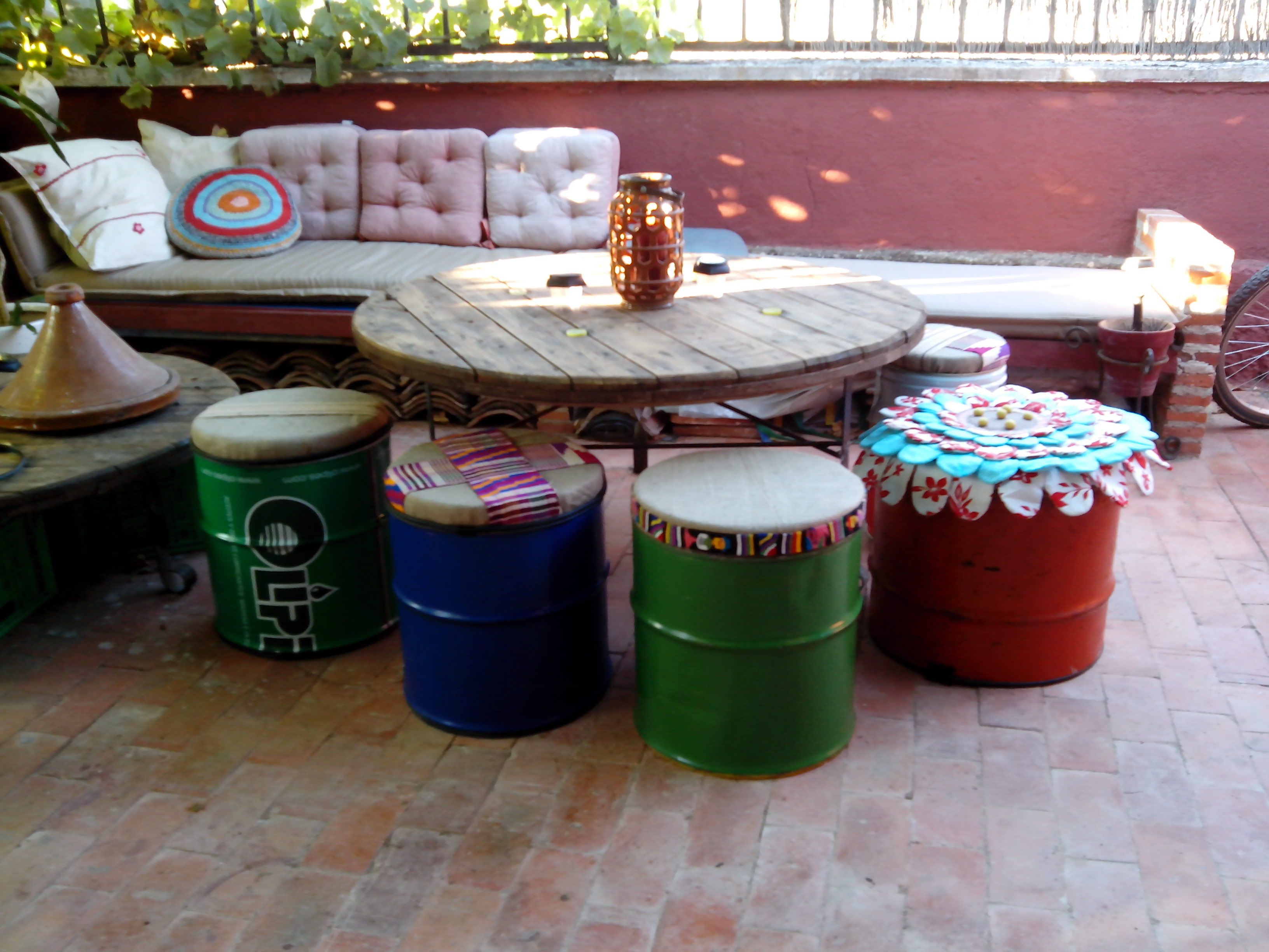 Taburetes Bidones Chillout Pinterest Banquetas Caj Nes Y  # Muebles Bidones
