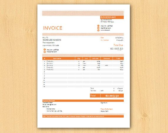 Editable Modern Excel Business Invoice Template Easy By INKPOWER - Modern invoice template