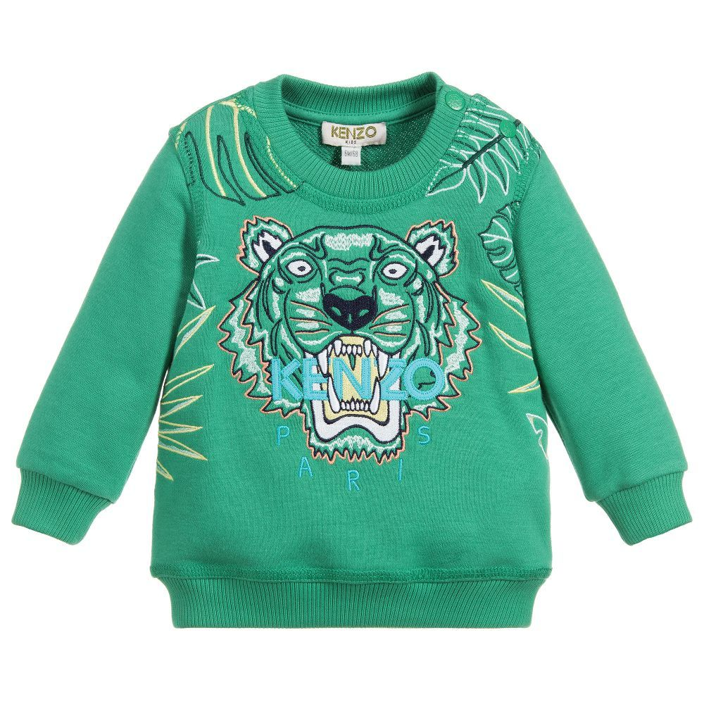 632a1a41cd49 Green sweatshirt for baby boys by luxury brand Kenzo Kids. It is made in  mid-weight cotton jersey and has the Iconic Tiger embroidery in blue and  yellow on ...