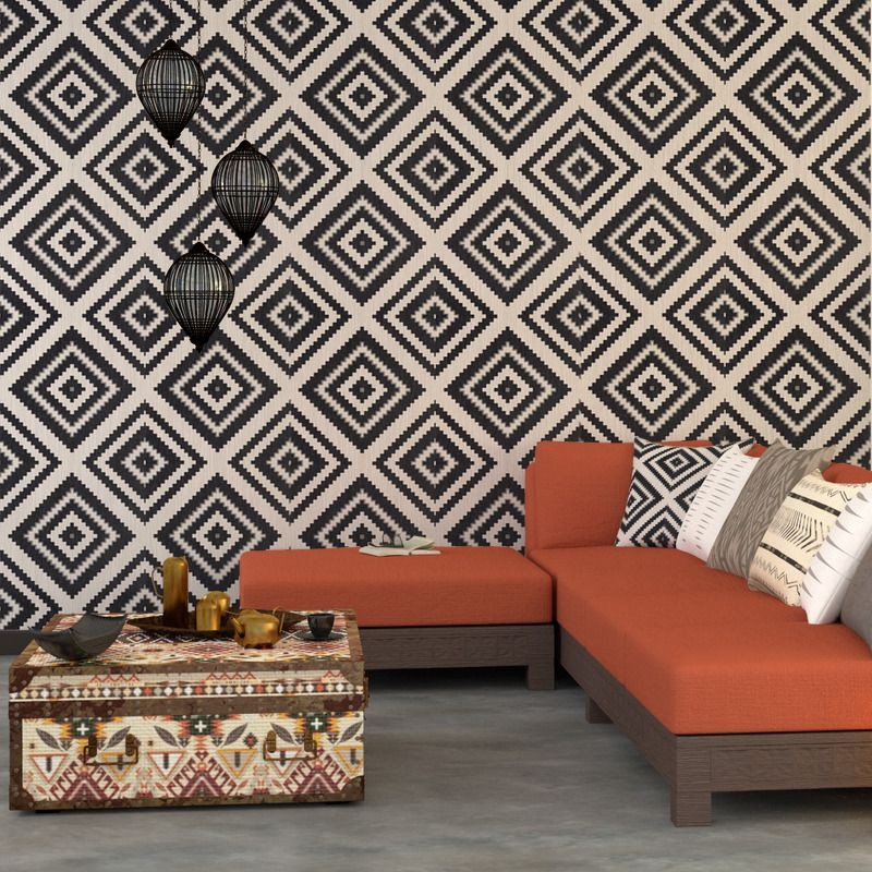 Papier Peint Chic papier peint vinyle aztek coloris noir | chambre noir blanc jaune