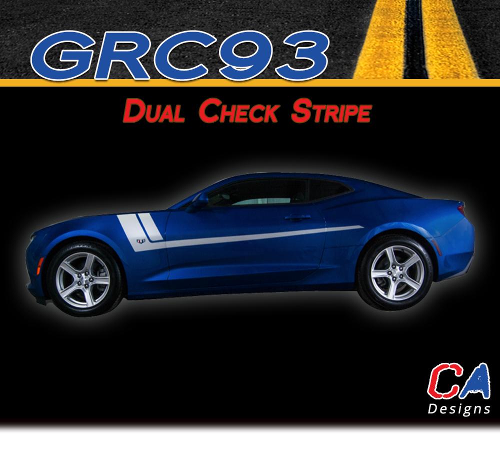 2016 2018 Chevy Camaro Dual Check Stripe Side Door Vinyl Graphic Decal Kit Chevy Camaro Camaro Camaro Models