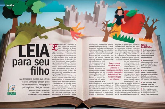 Art by Mariana Coan - For Saúde! magazine. An editorial piece about the importance of reading for your kids. Photo by Omar Paixão