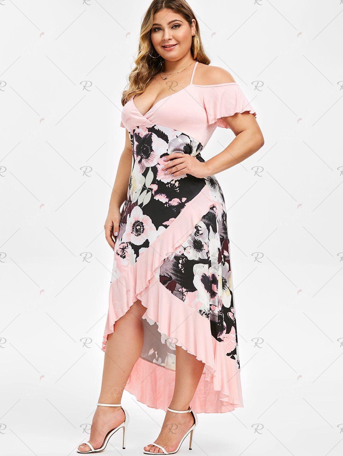 Plus Size High Low Cold Shoulder Ruffle Dress Shoulder Ruffle Dress Ruffle Dress Dresses [ 1596 x 1200 Pixel ]