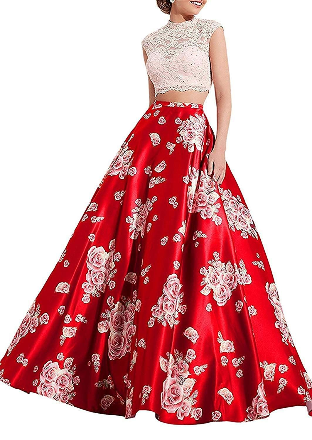 6e0dc75358d70b Aurora Bridal Womens Floral Print Beaded Long Prom Dresses 2019 Two Piece  Formal Evening Gowns We