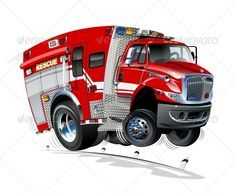 Vector Cartoon Rescue Truck Car Vector Cute Cars Trucks