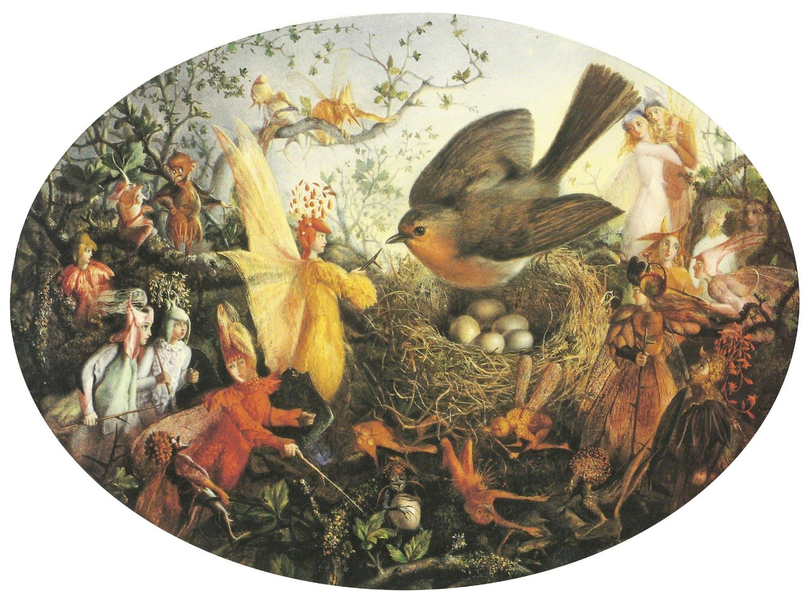 'Cock robin defending his nest' by John Anster Fitzgerald.