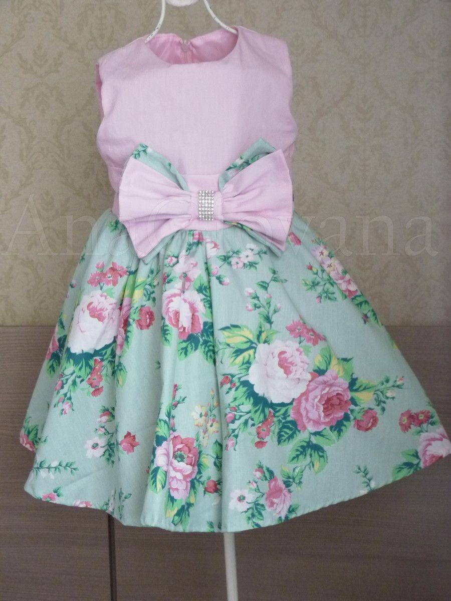 cb75c8b6d Vestido Infantil Floral. Tecido: Tricoline rosa no busto e saia floral de  tricoline. Tamanhos: 01 a 06 anos Tamanho -------Busto----- ...