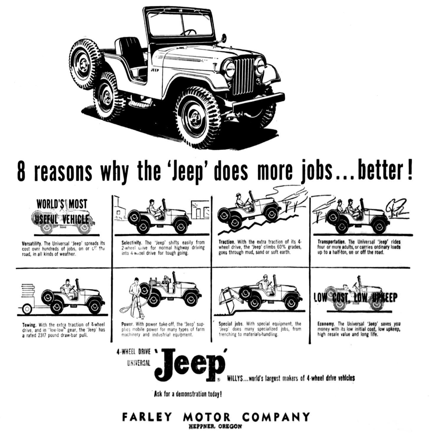1956 03 15 Heppner Gazette Times Cj5 Universal Jeep Ad Lores