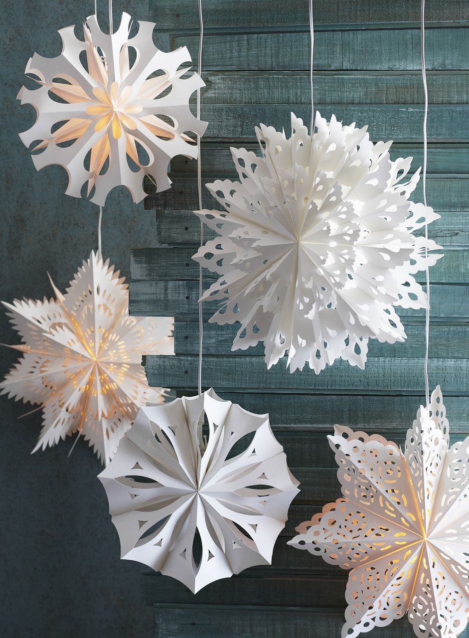 Hanging Paper Snowflake Lamps, multiple designs
