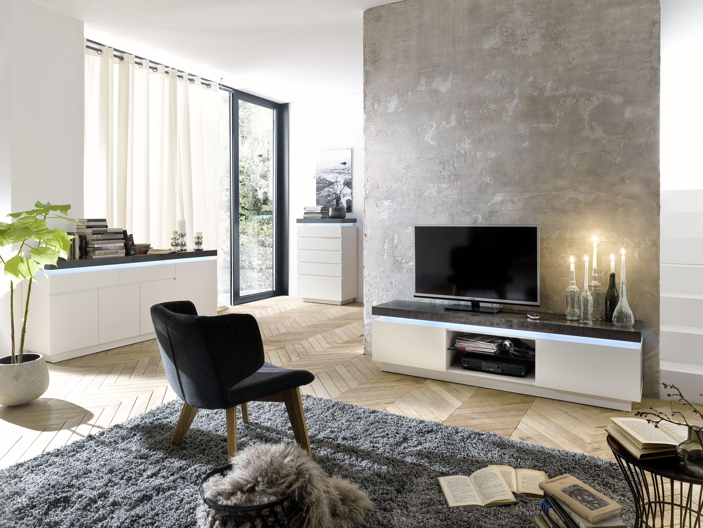 Wohnzimmer Set Tv Lowboard Sideboard Und Kommode Weiss Matt/ Grau Woody  41 02479