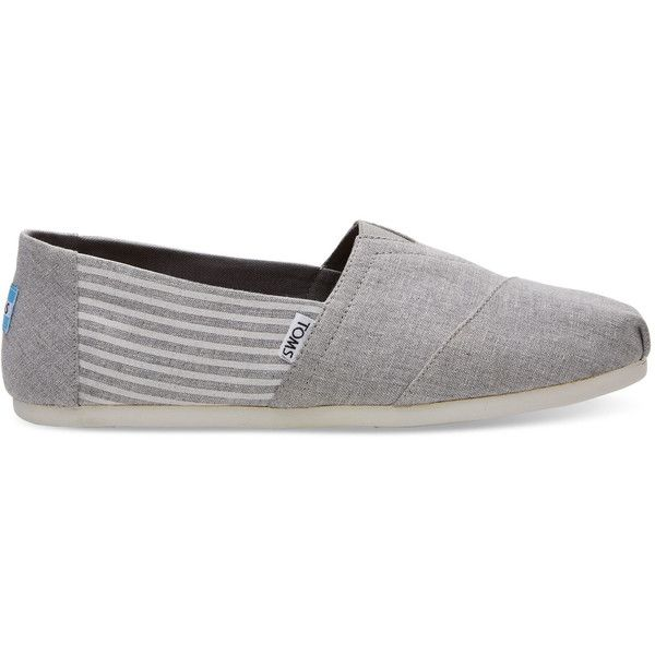 TOMS Frost Grey Stripe Men's Classics Slip-On Shoes ($55) ❤ liked on Polyvore featuring men's fashion, men's shoes, grey stripe, mens slip on shoes, toms mens shoes, mens shoes, mens grey shoes and mens slipon shoes