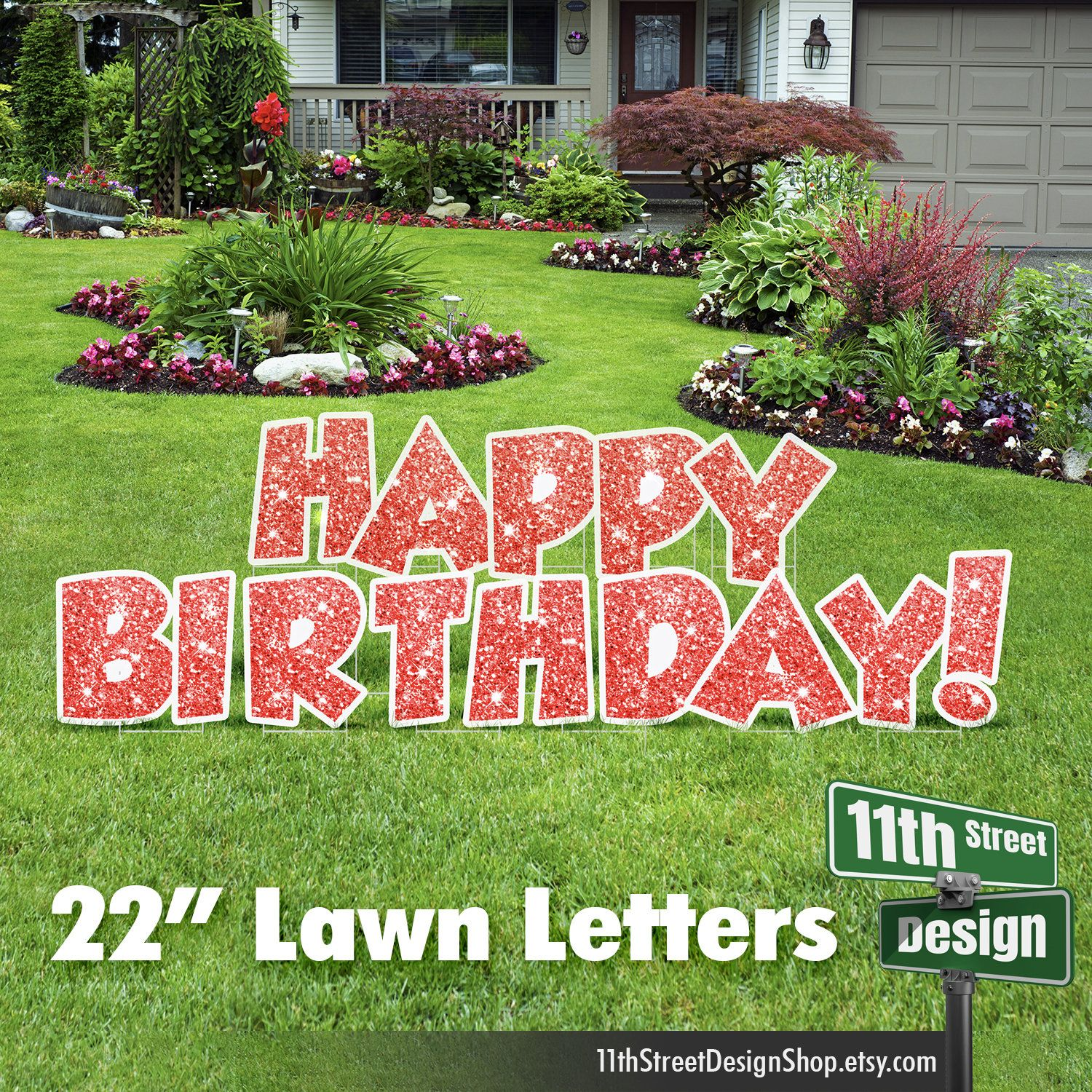 22 Red Faux Sparkle Happy Birthday Yard Signs Outdoor Etsy Happy Birthday Yard Signs Birthday Yard Signs Yard Cards