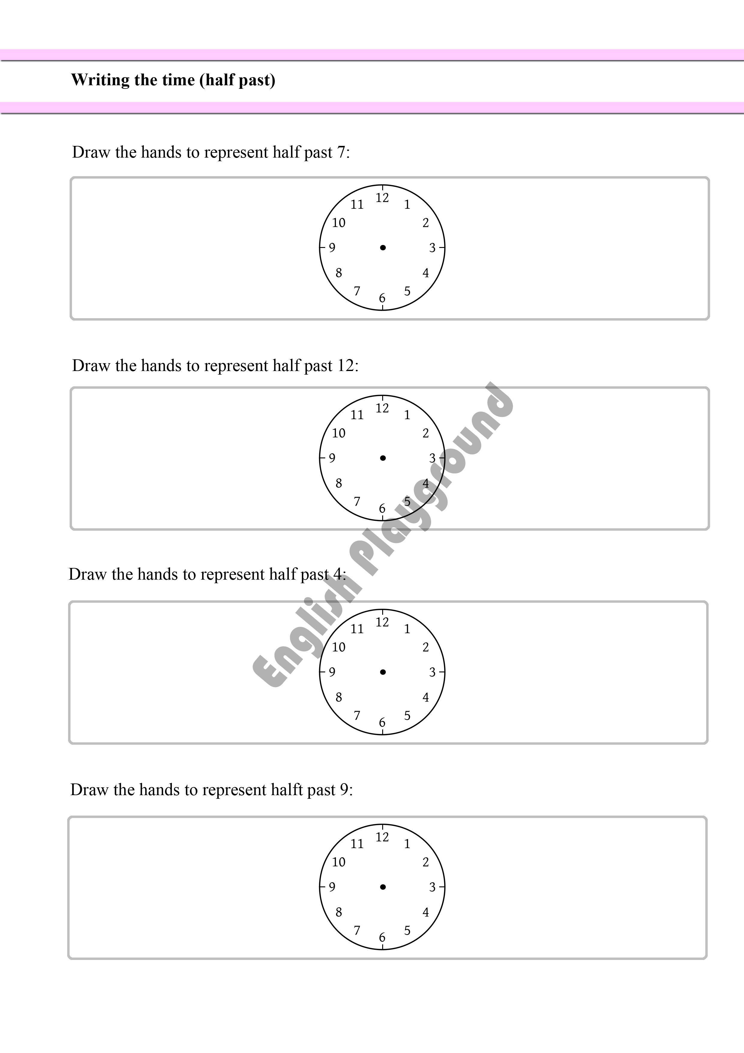 Writing The Time Half Past For Year 1 Students