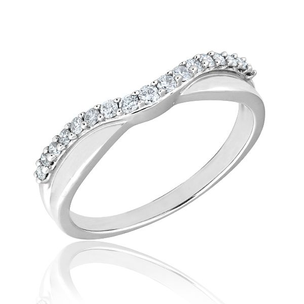 White Gold Curved Diamond Wedding Band 1 4ctw Ebay