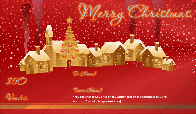 Printable Christmas Gift Certificate For Word Merry Christmas
