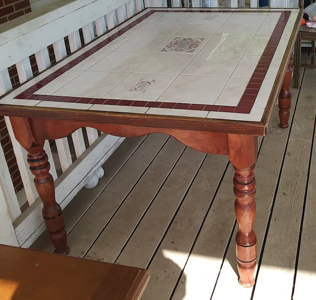 Used Solid Wood Tile Top Kitchen Dining Table For Sale In Odenton Letgo Dining Table In Kitchen Wood Tile Ikea Lack Coffee Table