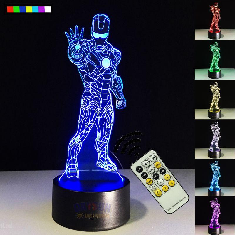 Free Shipping Led 3d Visual Night Lamp Marvel Iron Man Avengers Figure Light Decoration Superhero 7 Colors Ironman Illusion Lamp Affiliate