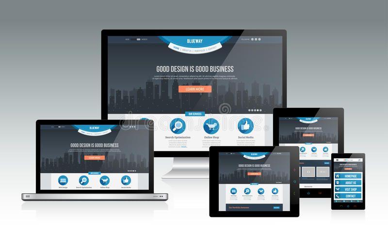 Responsive Web Mockup Modern Responsive Website Design Concept With Multiple De Aff Modern Responsi Web Programming Web Design Mockup Online Web Design