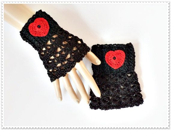 Valentines day, Lace fingerless gloves, Crochet fingerless gloves, Black gloves, Red heart gloves, Silk yarn gloves, Fingerless Gloves