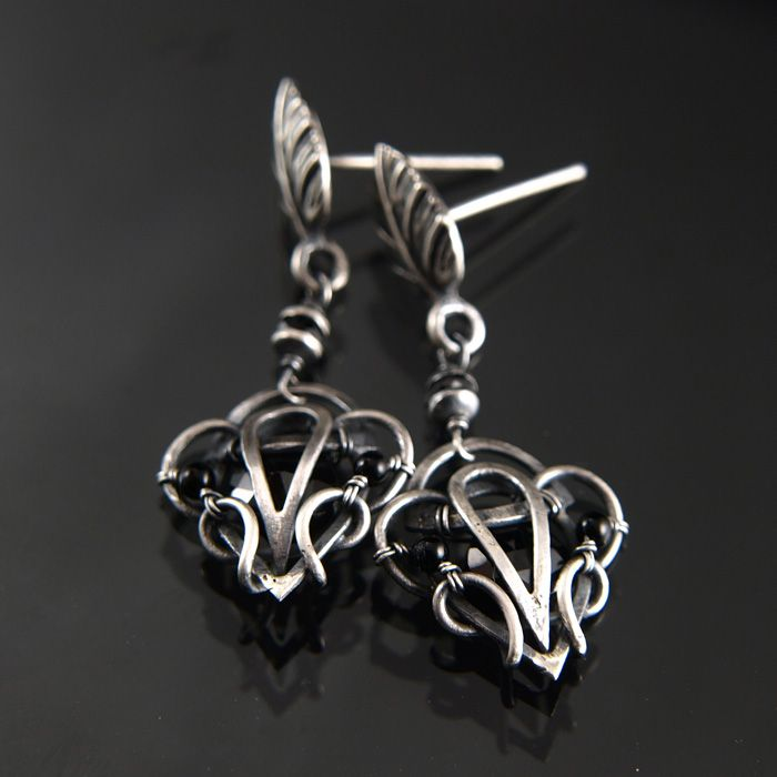 handmade earrings technique  wire-wrapping materials  silver 33572661865b