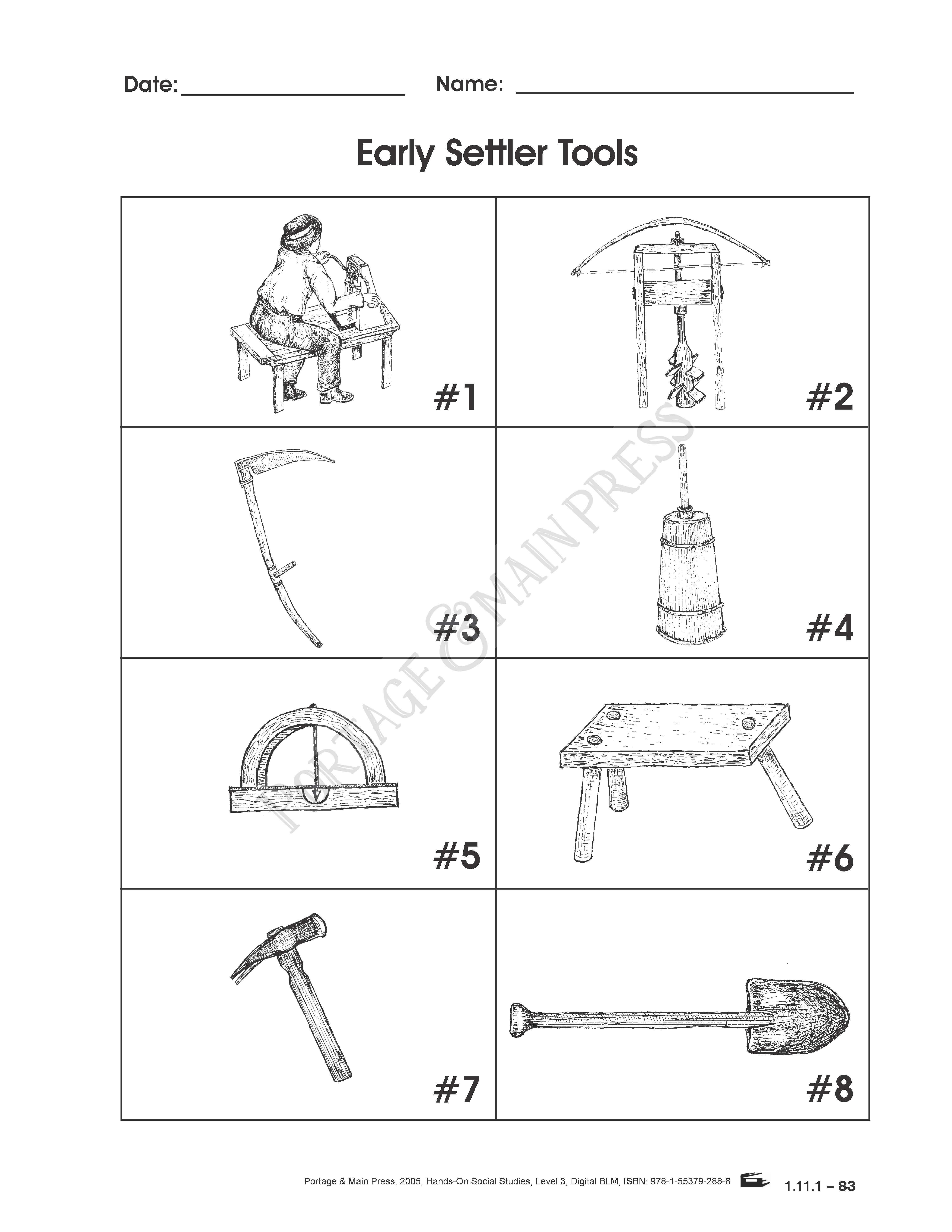 Grade 3 Social Stu s Early Settler Tools activity sheet
