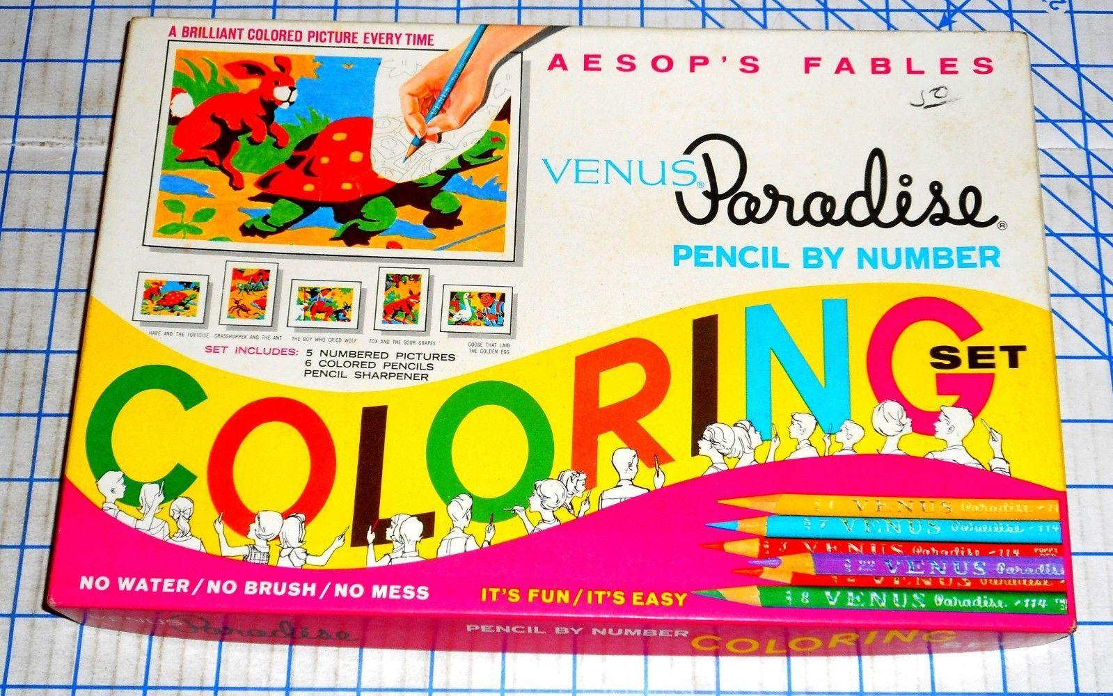 Vintage 1966 Venus Paradise Pencil By Number Paint Set