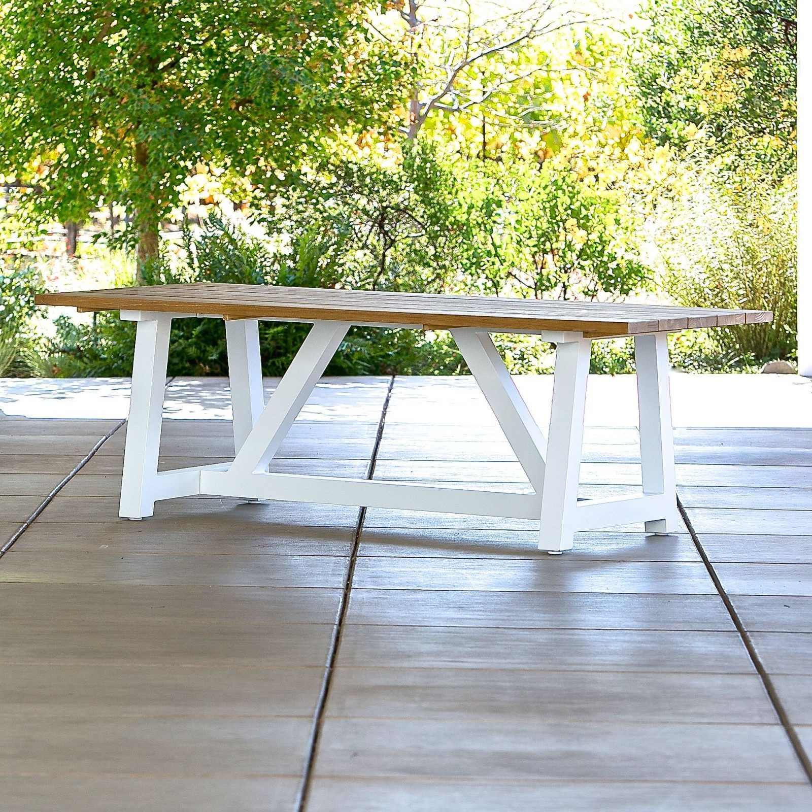 Madera Beam Table In White With Teak 84 Contemporary Outdoor