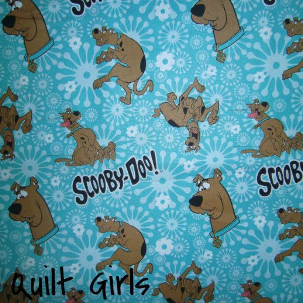 Scooby Doo Toss on Blue Fabric to sew