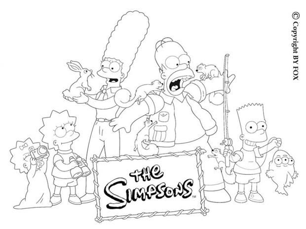 The Simpson Family And The Squirrels Coloring Page More The Simpsons Coloring Sheets On Hellokids Com Coloring Books Cartoon Coloring Pages Coloring Pages