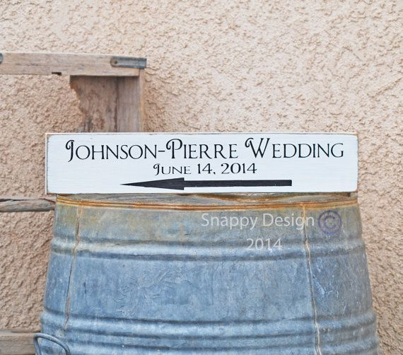 Directional Wedding Sign  Custom  Name  Date