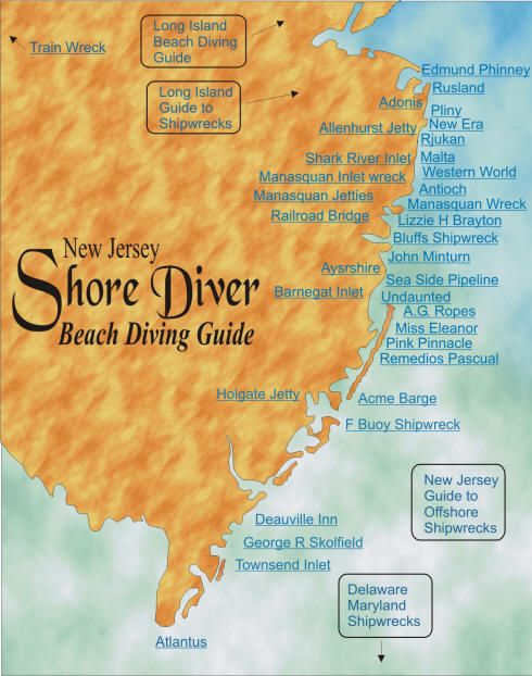 New Jersey Beach Scuba Diving Map Of Locations Includes Shipwrecks