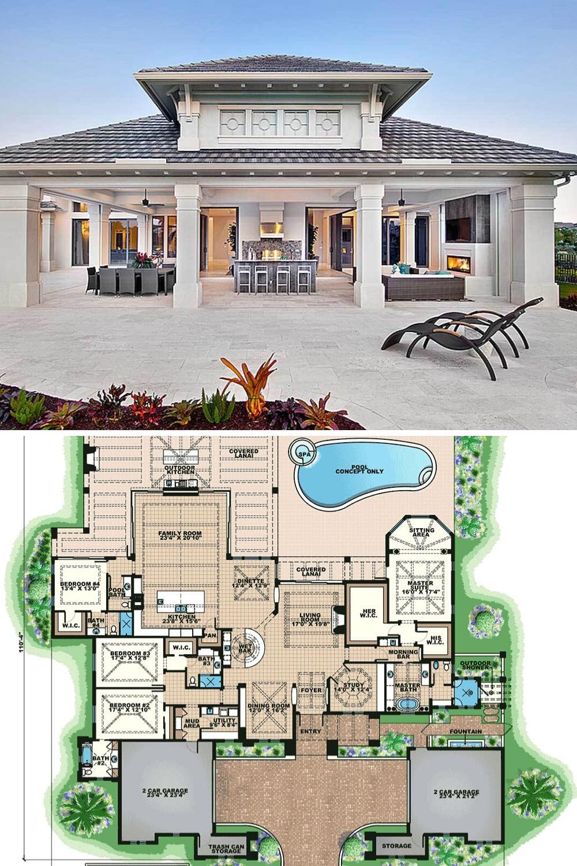 Single Story 4 Bedroom Luxurious Mediterranean Home Floor Plan Mediterranean Homes Exterior House Plans Mansion Florida House Plans