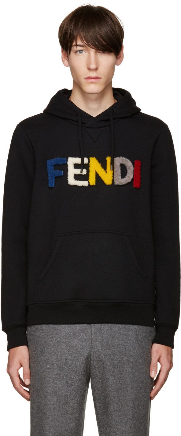 a74a5a4b5 Fendi - Black Shearling Logo Hoodie 740 EUR.   fresh   Fendi ...