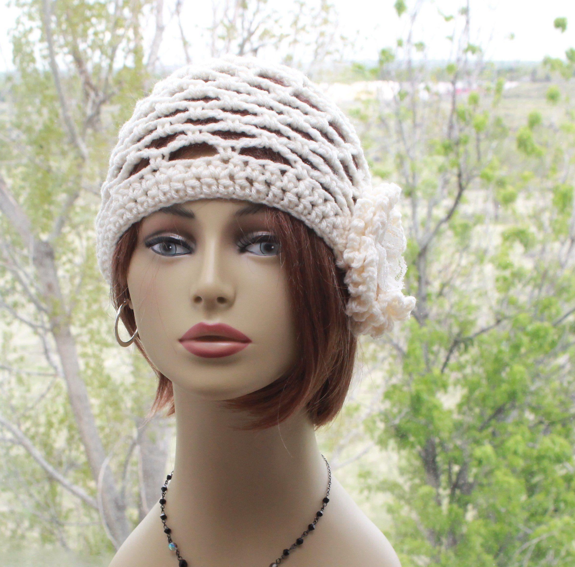 Crochet womens hat beanie open stitch juliet cap