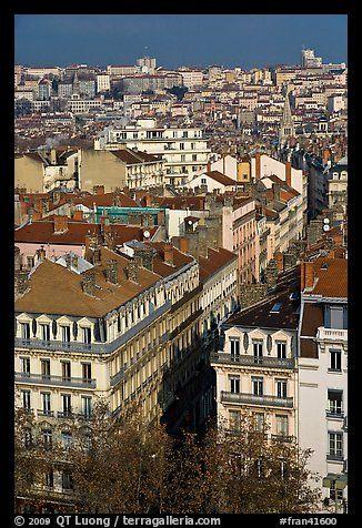 Vista aérea del centro de la ciudad.  Lyon, Francia
