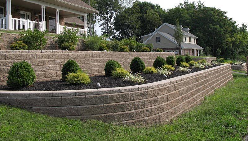Lighting Grade Change Terrace Sloping Yard Front House Landscaping Landscaping Retaining Walls Sloped Front Yard