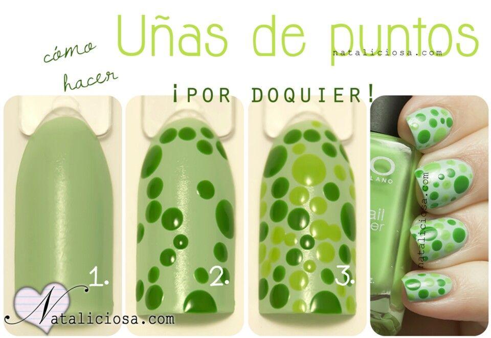 Me gustó la variedad de verdes y un diseño super fácil!   Uñas ...