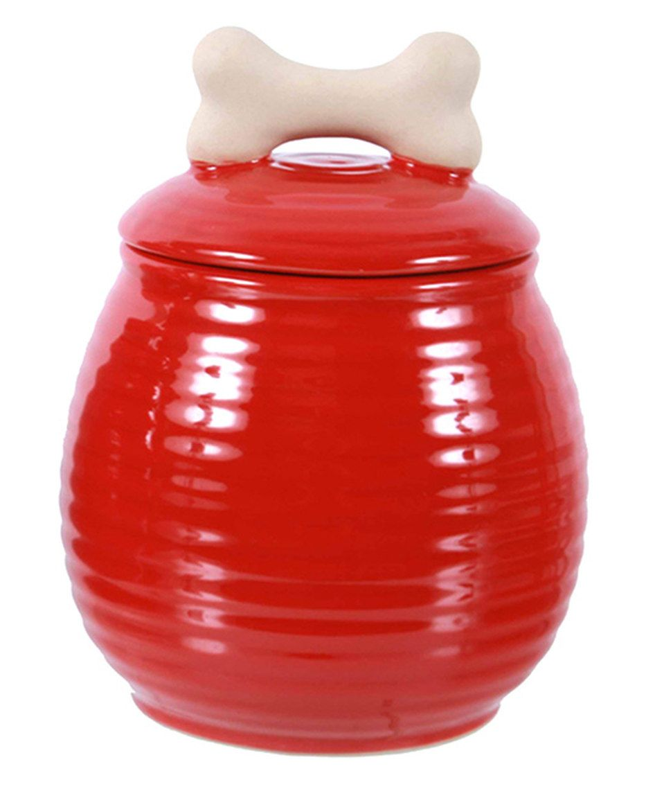 Red Ceramic Dog Treat Jar By Dei Zulily Zulilyfinds Dog Treat Jar Treat Jars Dog Treats