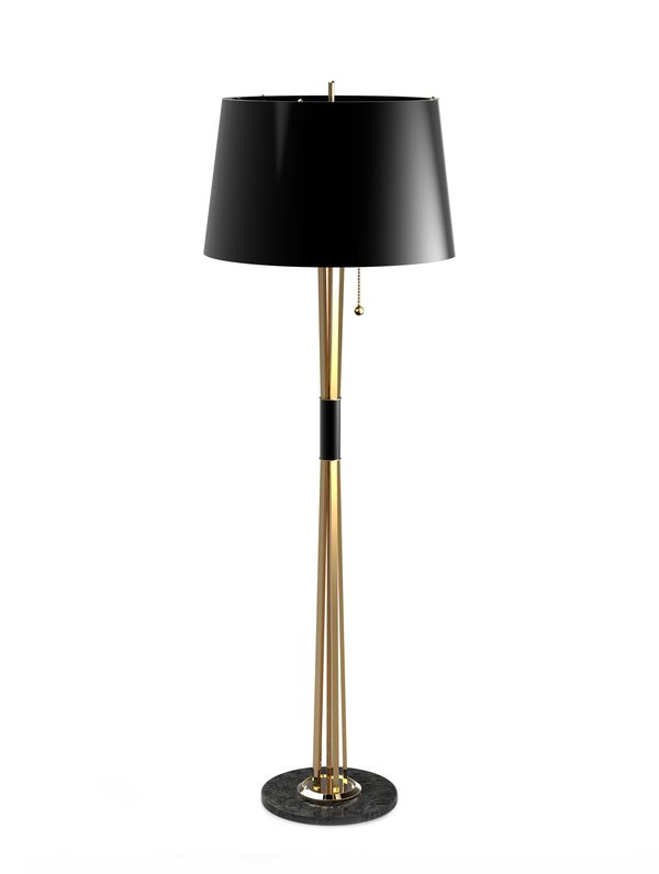 Ibis Table Lamp with Black Satin Shade | Eclectic table