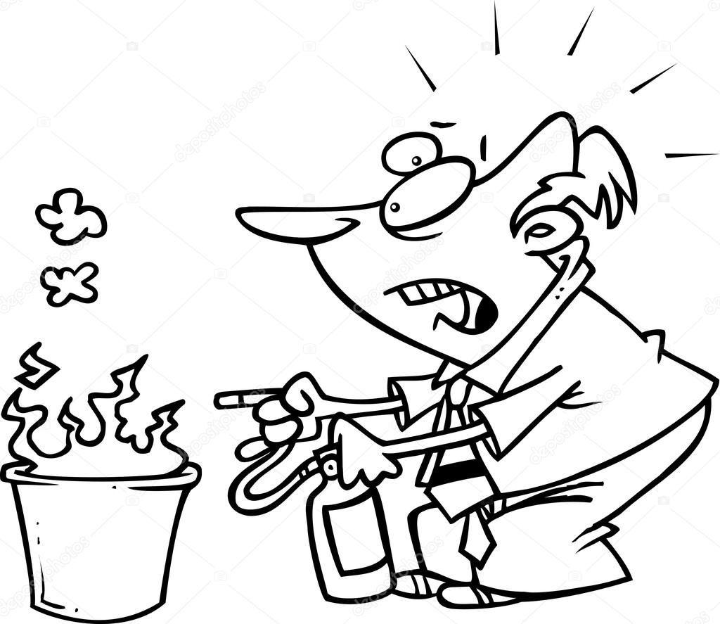Hombre de dibujos animados con un extintor precipitándose hacia una ...