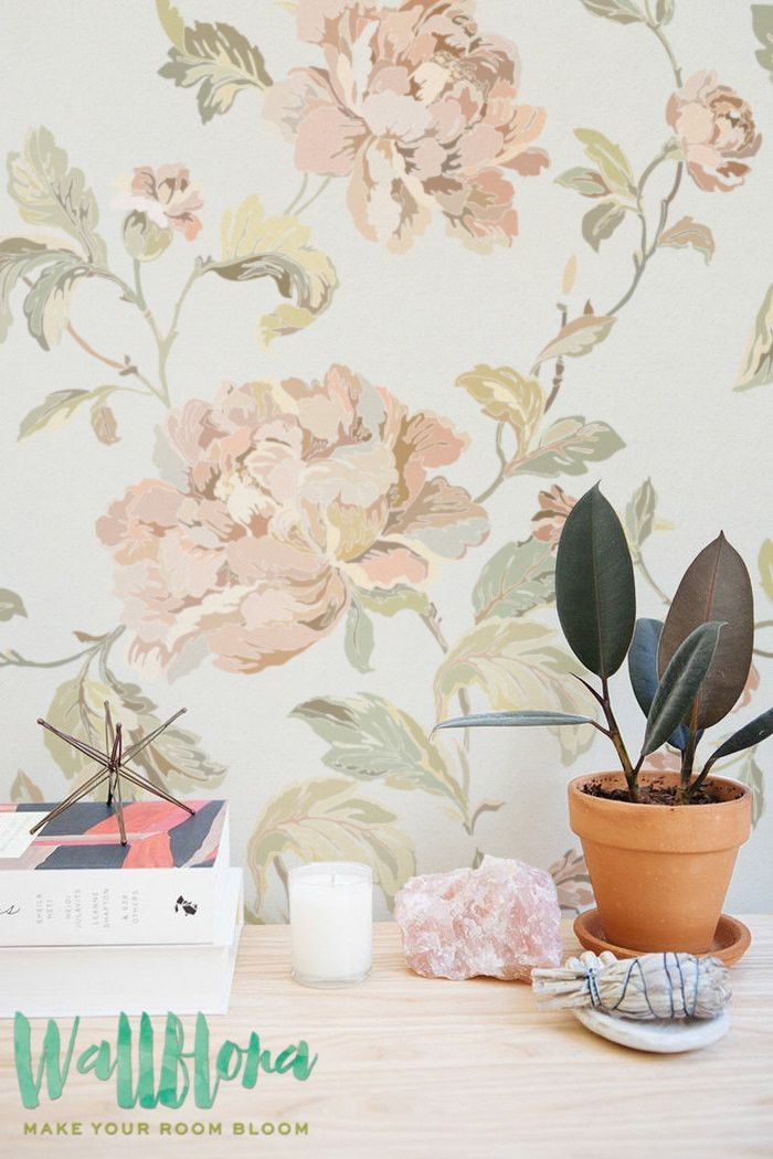 Rose Pattern Wallpaper - Rose Wallpaper - Removable Rose Wallpaper - Rose Wallpaper - Rose Wall Sticker - Rose Wall Decal - Self Adhesive