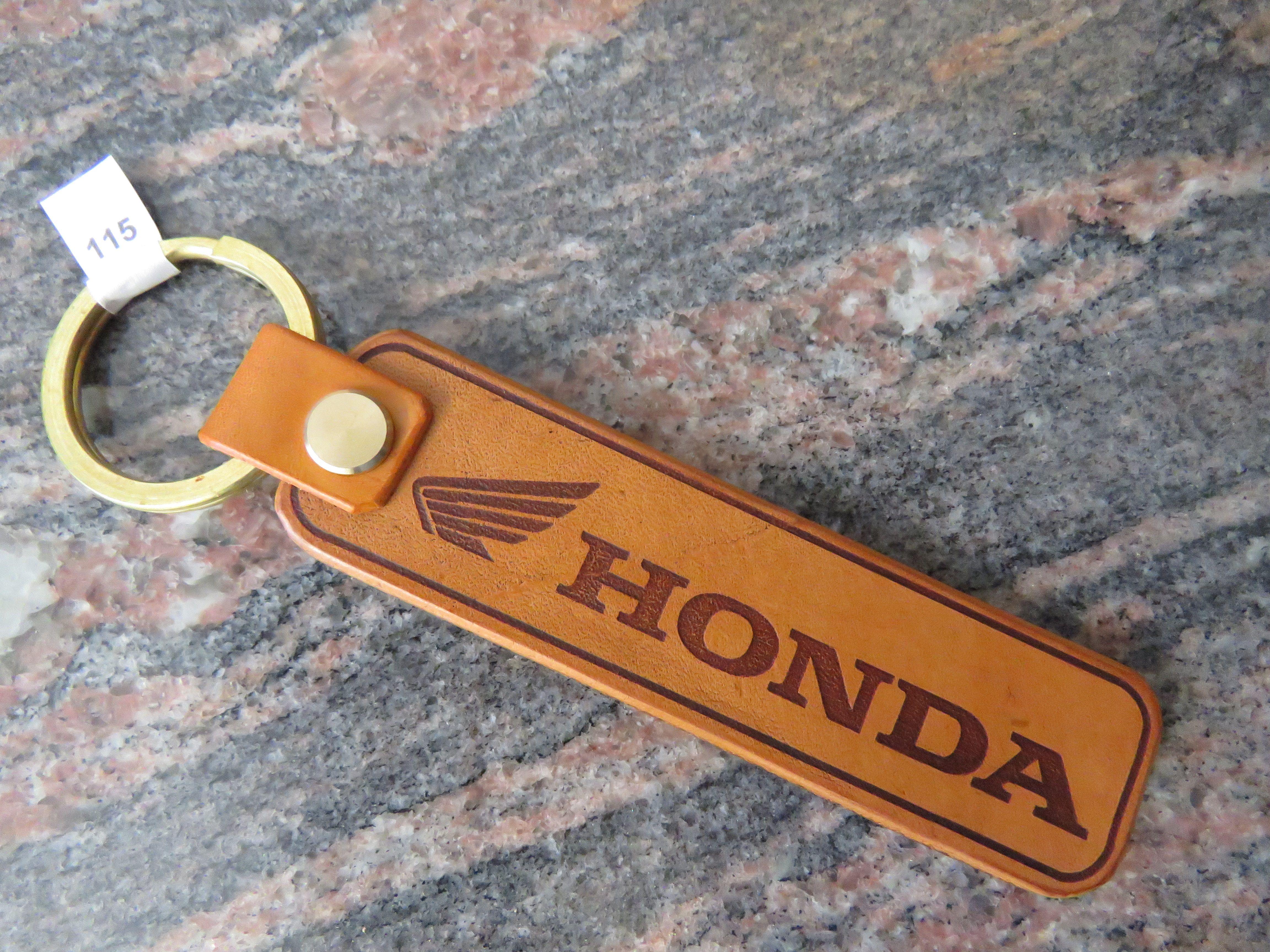 Honda Key Chain Motorcycle Biker Genuine Leather Key Ring Key