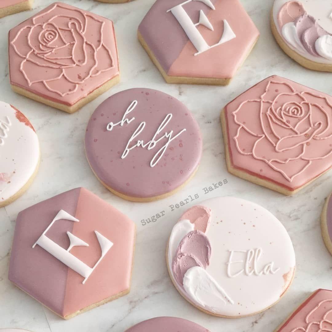 Pamoda On Instagram Vintage Mauve Dusty Rose Blush Pink And Rose Gold For Baby Ella Design I Baby Cookies Baby Shower Cookies Sugar Cookies Decorated