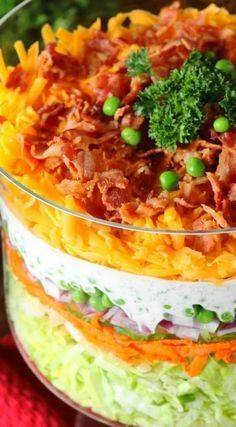 Layered Salad (For a Crowd) ~ With make-ahead convenience and fabulous flavor, it's perfect for all those summer cookouts and get-togethers.