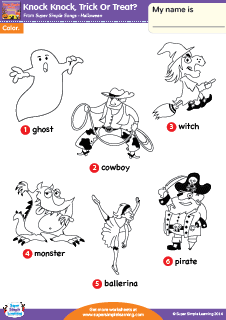 Charmant Halloween Vocabulary Coloring Worksheet From Super Simple