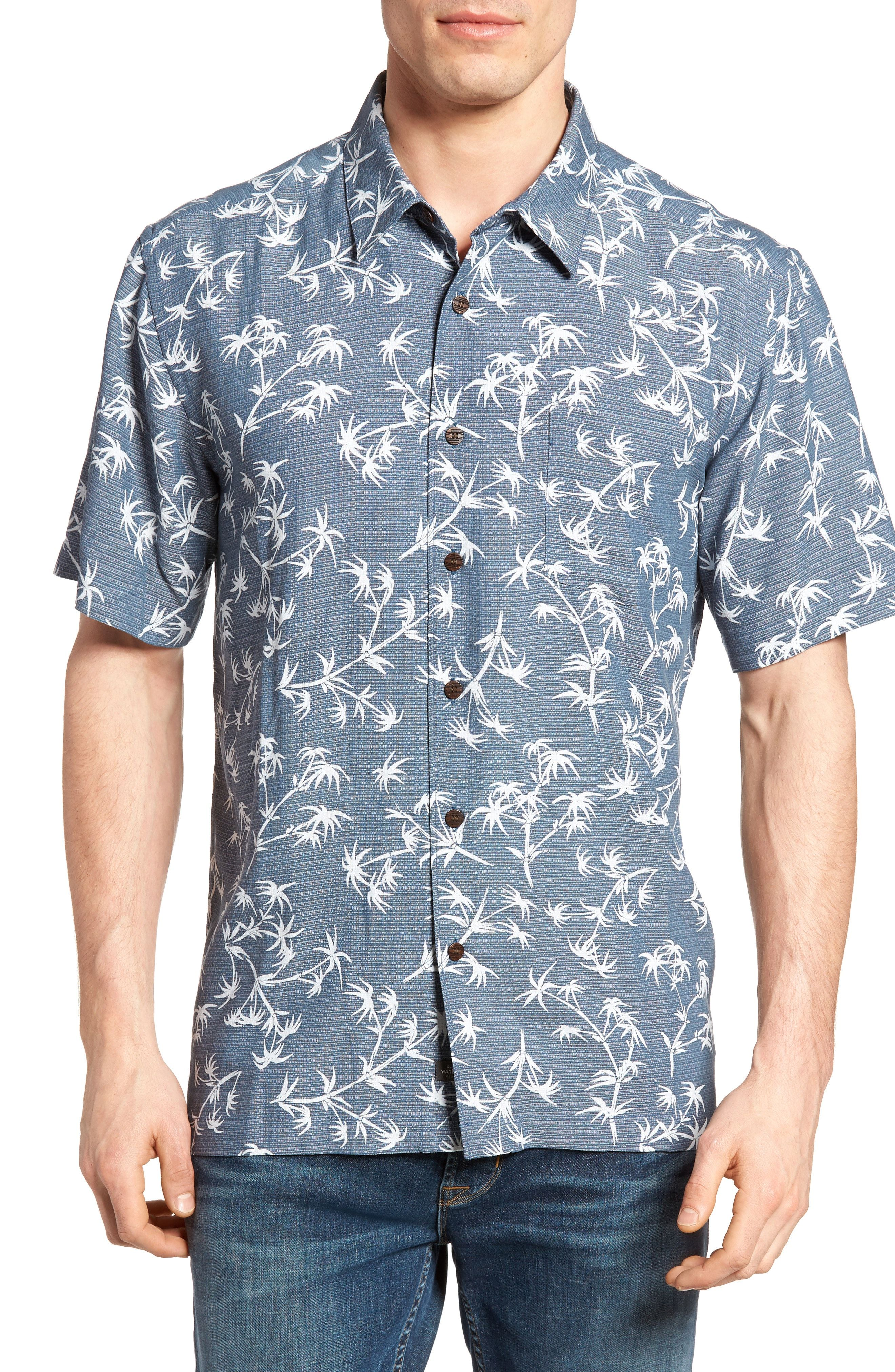 New Quiksilver Waterman Collection Skinny Palms Print Sport Shirt ... c7a4ae7e872